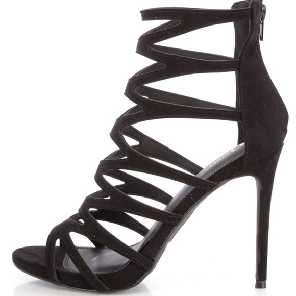 6697d153 Black, Strappy, Peep Toe, Suede, Cage High Heels NWT